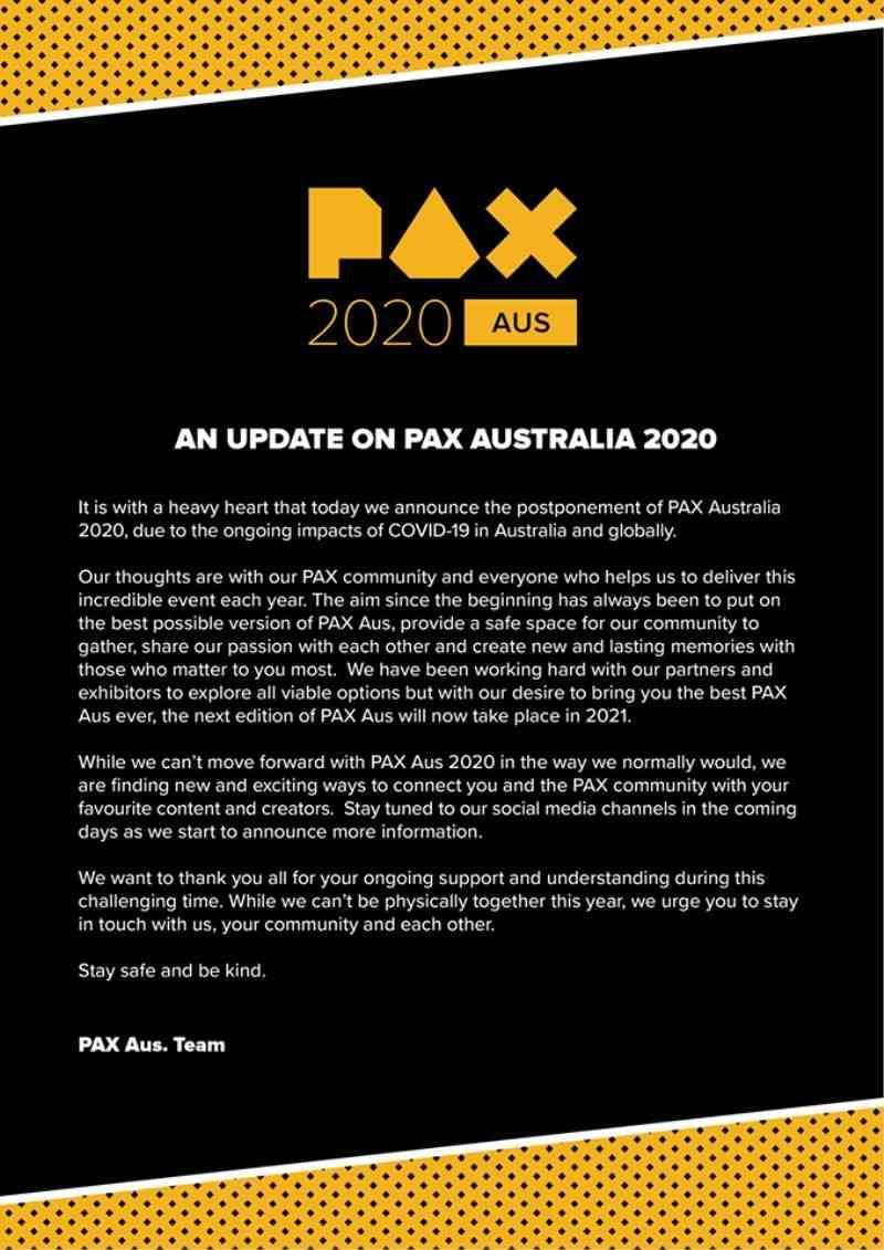 PAX Australia 2020 Cancelled